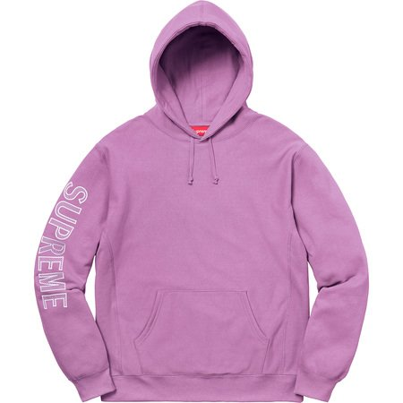 Sleeve Embroidery Hooded Sweatshirt (Violet)