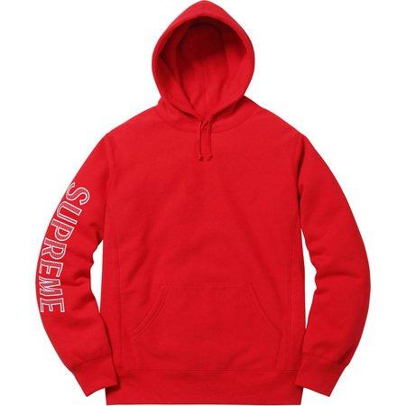Sleeve Embroidery Hooded Sweatshirt (Red)