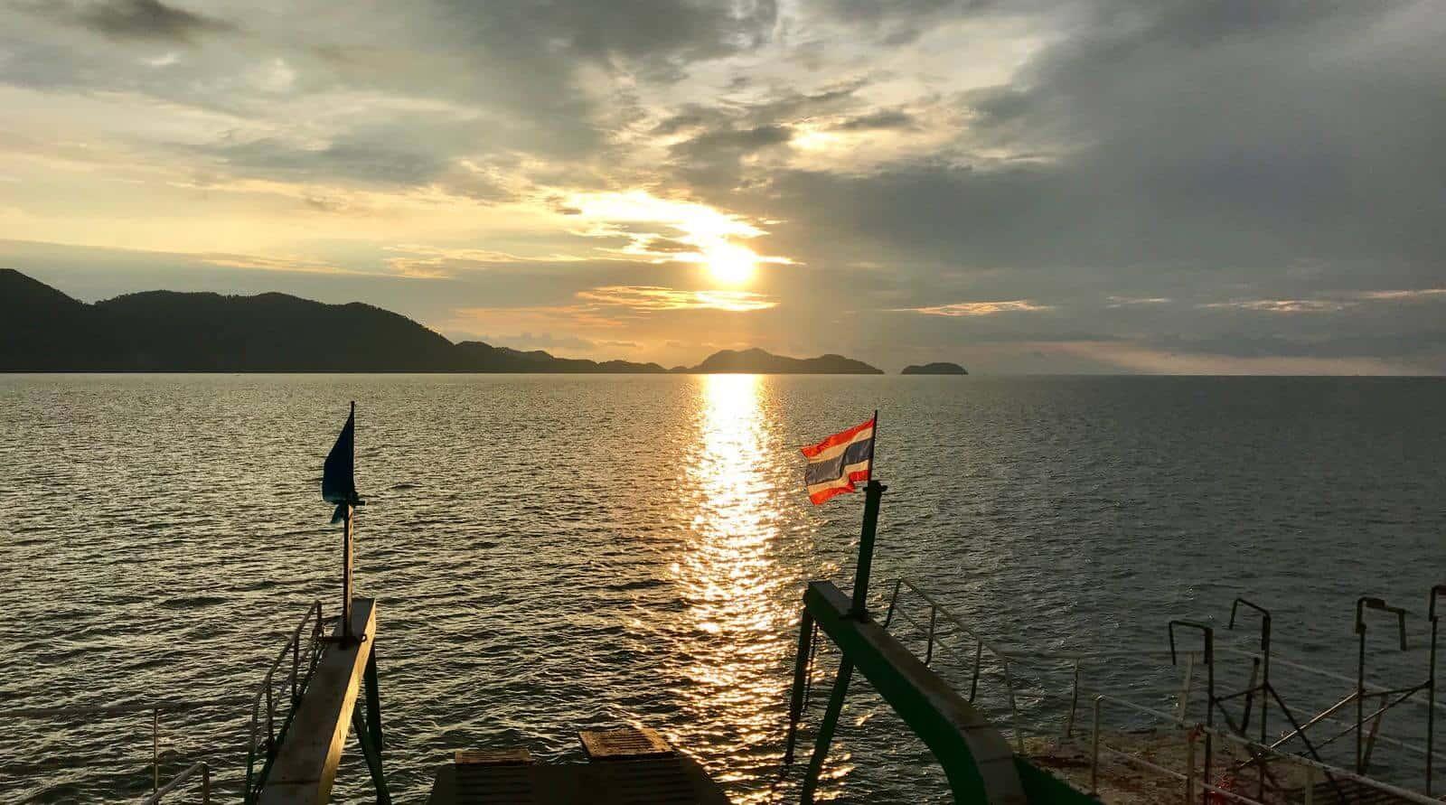 Ferry sunset Thai flag betternotstop