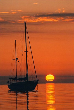 Sailboat and Sunrise - Becomes Better by Moving in Closer
