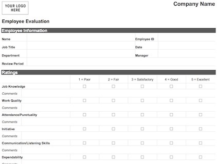 employee evaluation template free
