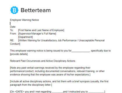 Employee Warning Notice Word Pdf