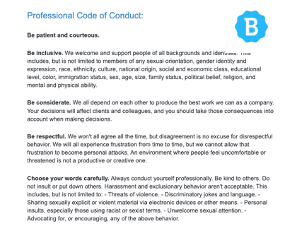 Professional Code Of Conduct With Template