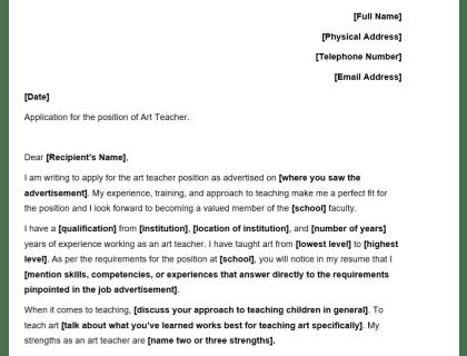Art Teacher Cover Letter Template