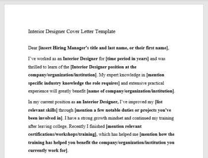 Interior Designer Cover Letter Template