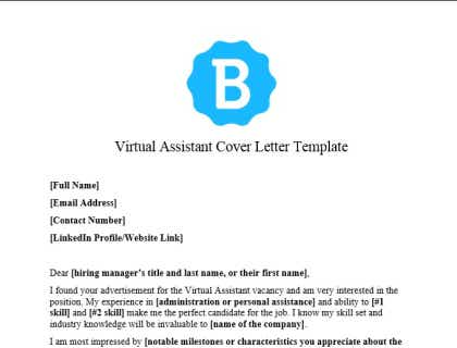 Virtual Assistant Cover Letter
