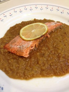 Salmon on Lentils