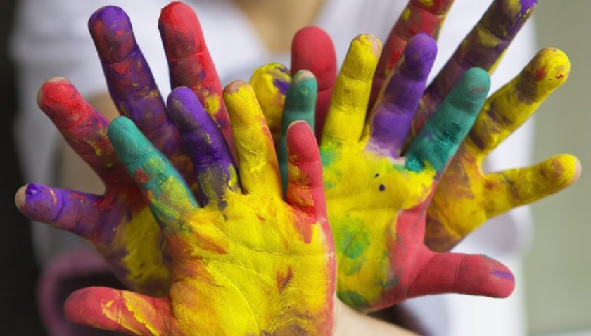 Childrens Painted Hands