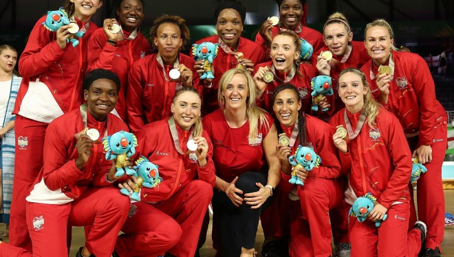 England Roses' Netball Team Commenwealth Games Gold Medal Winners