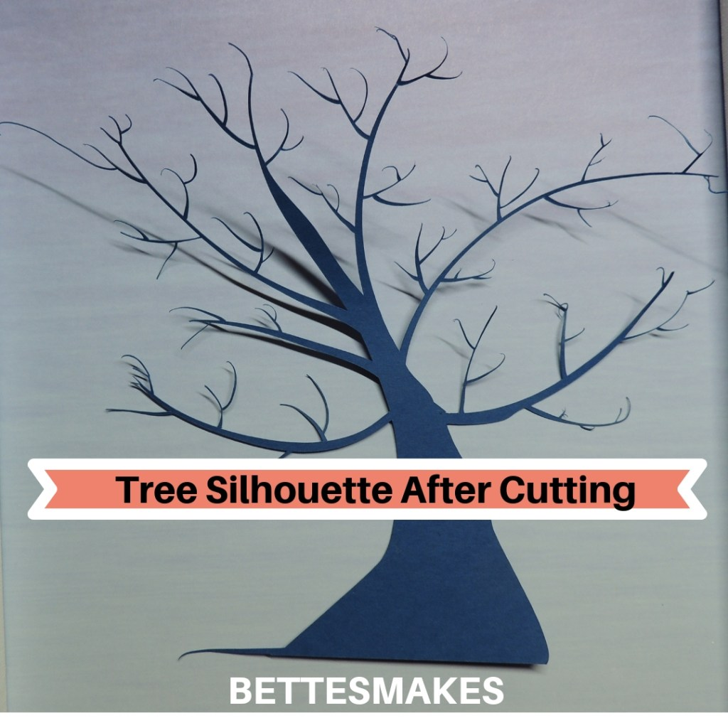 Button Art - Tree Silhouette After Cutting