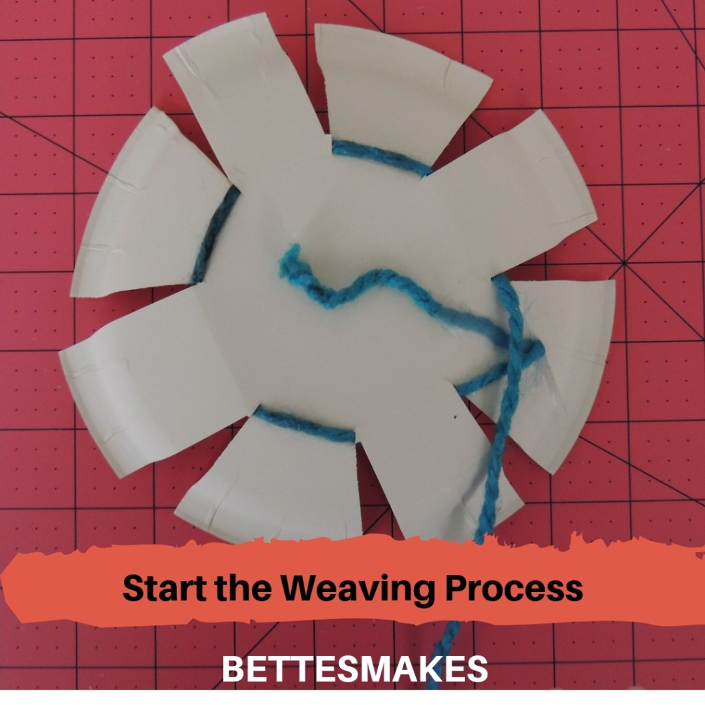 Paper Plate Weaving - Starting the Weaving Process