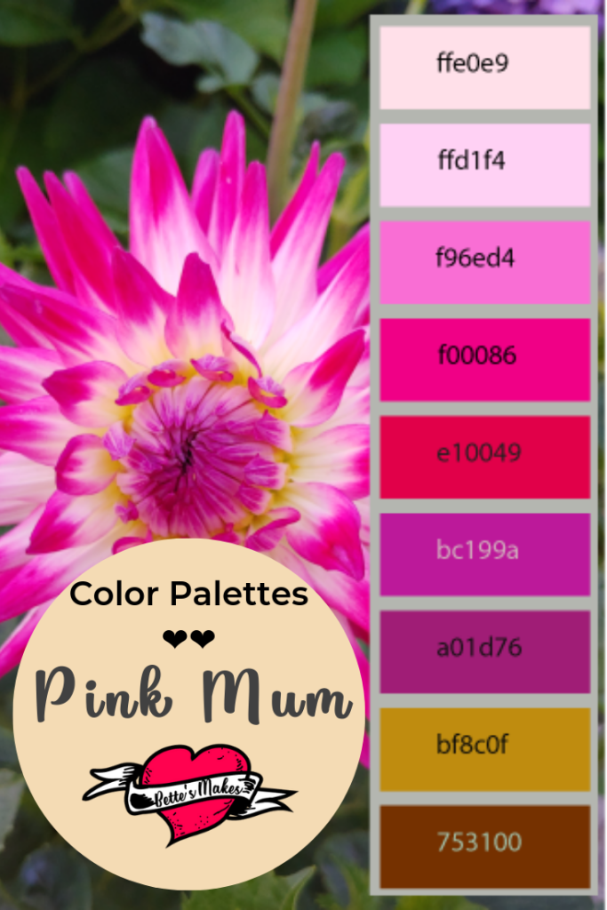 Unbelievable beauty - pink mums! Just imagine making your color choices for any craft using this palette. Perfect for DIY Home Decor, Handmade cards, and paper crafts. Check more out at BettesMakes.com