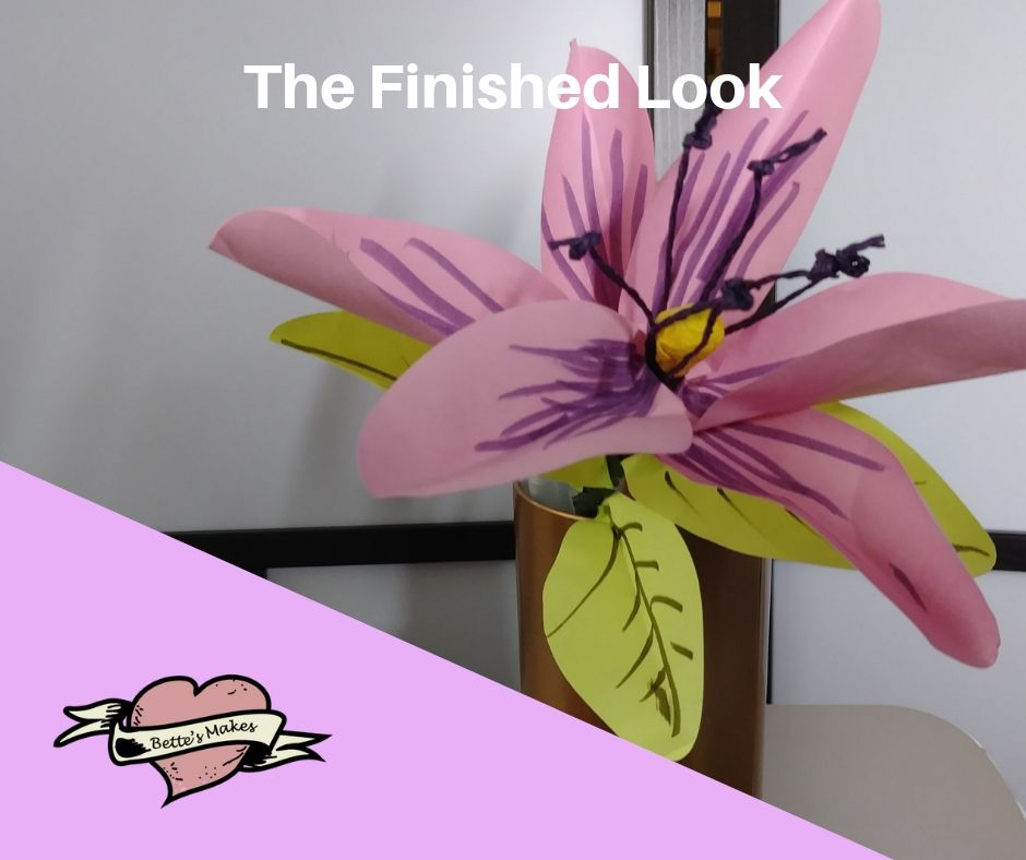 DIY Paper Flower Lily - The Finished Look - BettesMakes.com