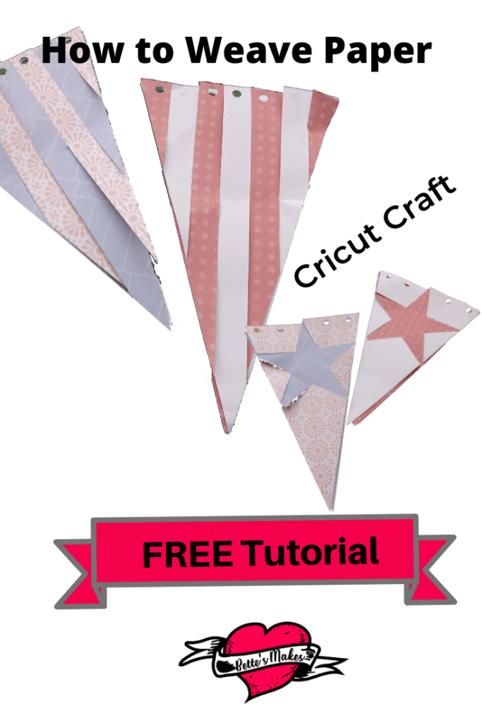 Cricut Craft from BettesMakes.com - learn how to paper weave and make this beautiful banners for DIY Home Decor - templates and tutorial are FREE. #cricut #cricutcraft #papercraft #paperweaving