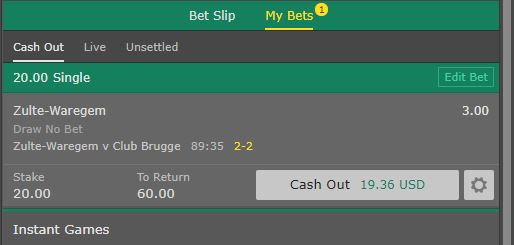 betting cash out amount