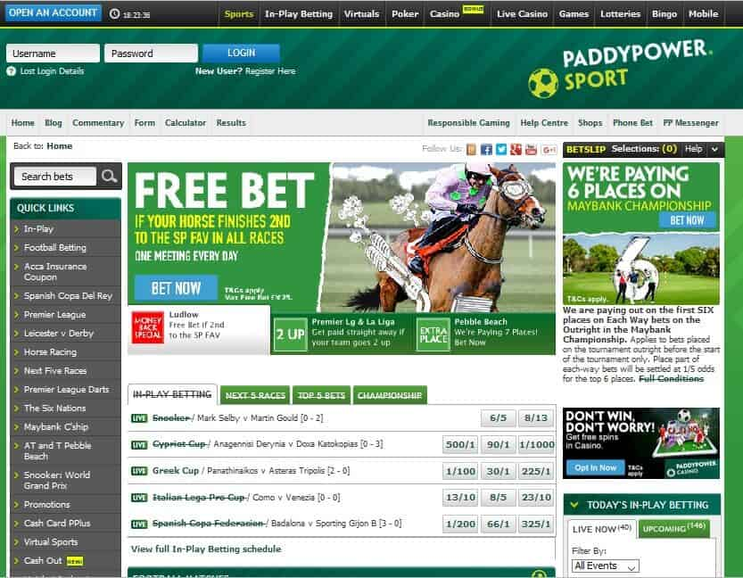 Paddy Power site image