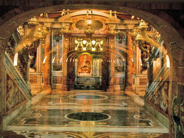 The chapel in St. Peter's right above Peter's tomb