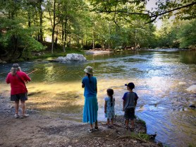 At the campground's swimming hole