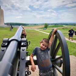Anthony and Ben with a cannon