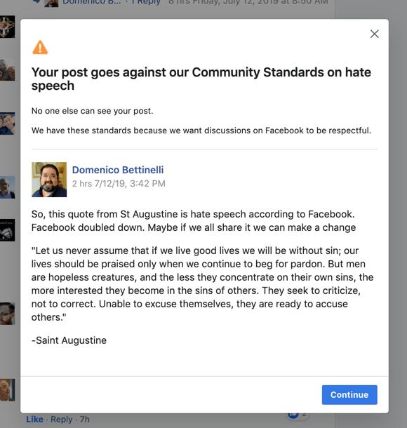 Facebook Banned St  Augustine as Hate Speech - Bettnet com