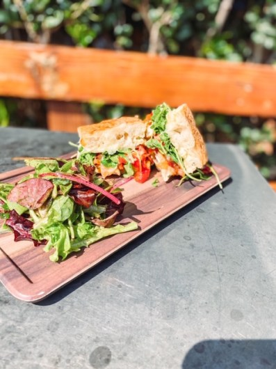 Chicken Panini served with a side of mixed greens