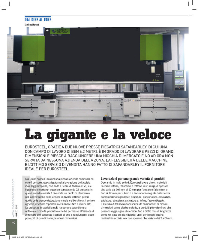 Articolo su Safandarley della rivista di settore LAMIERA pubblicato nel numero di Marzo 2019