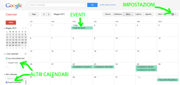 Interfaccia Google Calendar