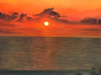 """Haifa Sunset,"" Oil on Canvas, 24""x18"" -SOLD"