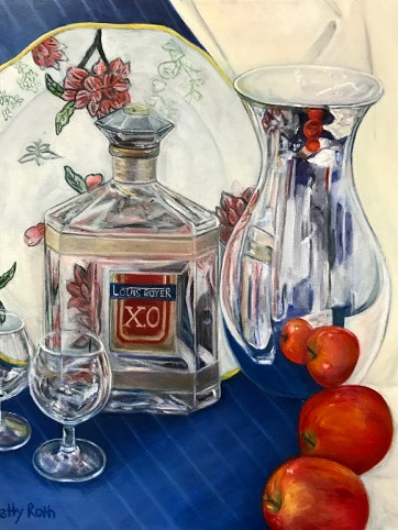 """""""Glass and Reflections,"""" Oil on Canvas, 16""""x20"""" -SOLD"""