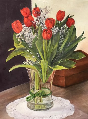 """Red Tulips,"" Oil on Canvas, 14""x18"""
