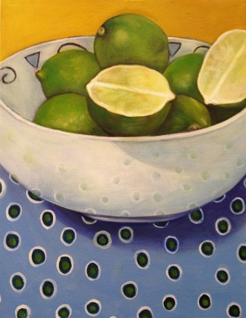 """Limes,"" Oil on Canvas, 10""x14"""
