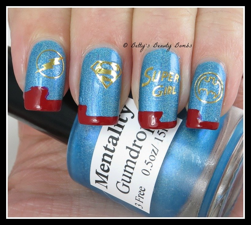 SuperGirl Nail Art using Born Pretty Store Supplies - Lazy Betty