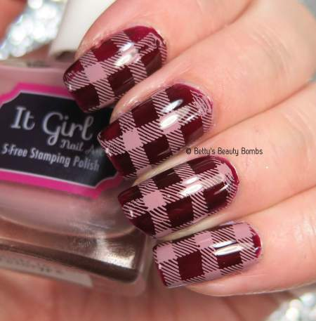 I used an It Girl Stamping Plate and It Girl Stamping Polish to create this plaid  nail art design. - Plaid Nail Art Stamping - Lazy Betty