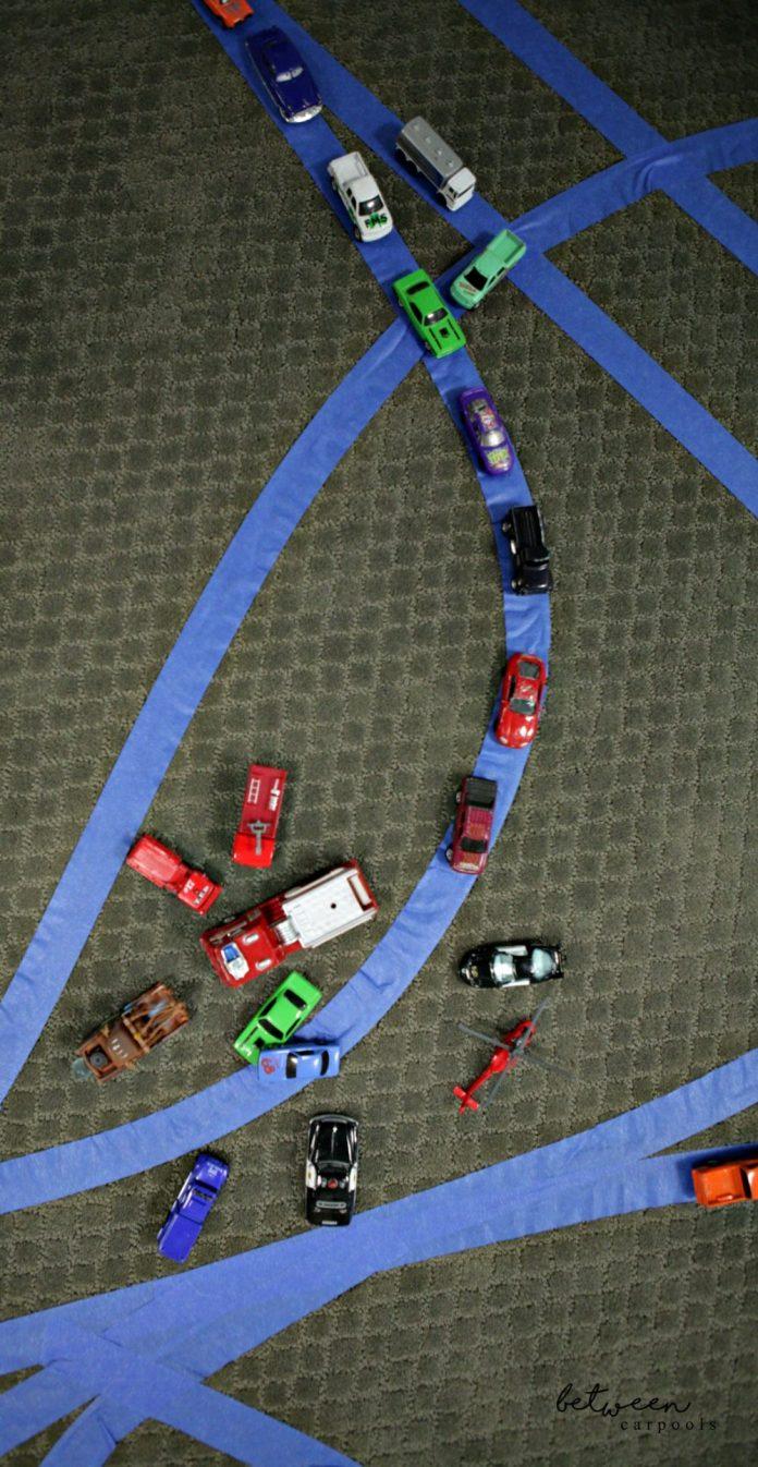 Boy's Tape Car Tracks. Stuck Indoors? The Best Boys' Activity for a Rainy Day