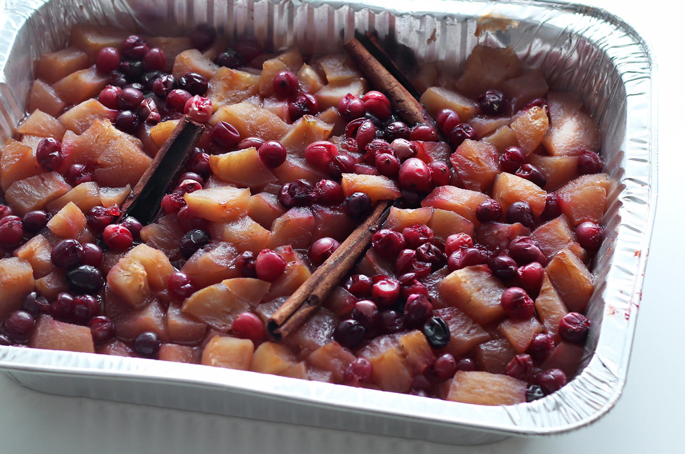 How to cook Shabbos in the oven without using any pots. Yes, even this compote. Find Kosher Shabbos Recipes here.