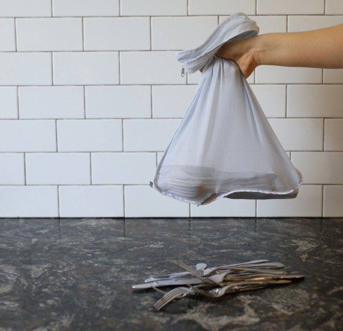Toivel Flatware in a mesh bag. The Easy Way to Toivel Flatware (or anything small). You'll never lose another spoon again