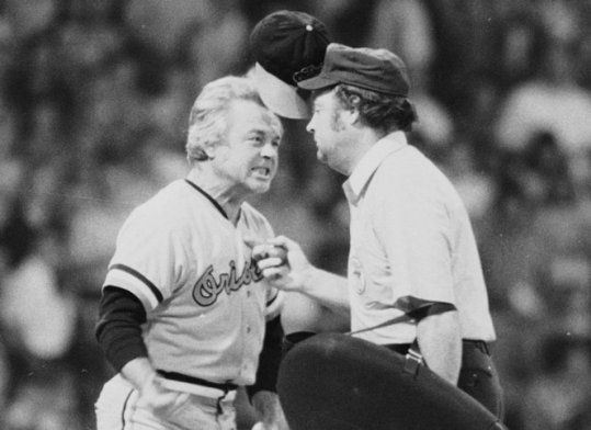 """Won 4 AL pennants and 1 World Series in 17 years as manager of the Baltimore Orioles. Espewed small ball in favor of """"pitching, defense, and the three-run homer."""" Though a 1996 HOF inductee, he's perhaps been known as the prototype for face to face, dirt kicking arguments with umpires. Ejected from over 100 games, including 3 doubleheaders. Died at age 82."""