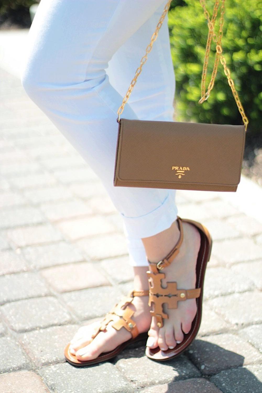 tory burch sandals and prada bag