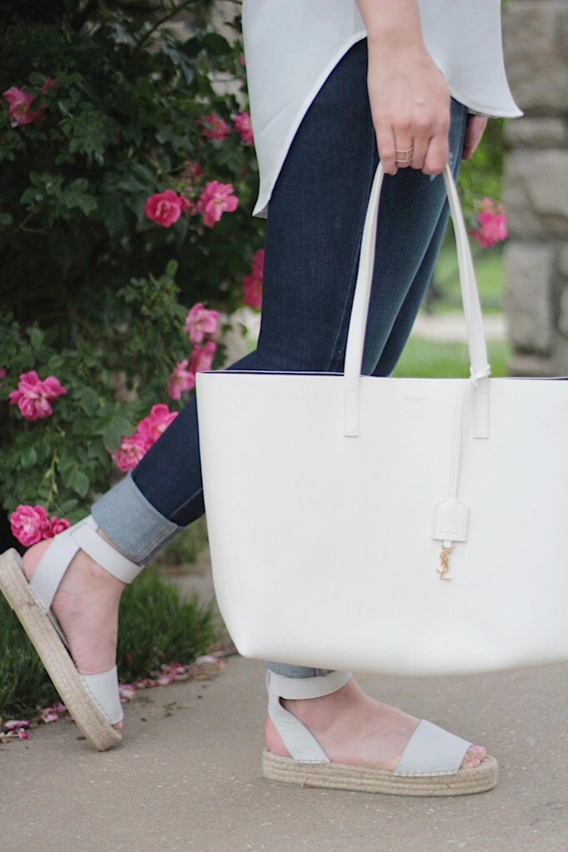 saint laurent bag and vince sandals