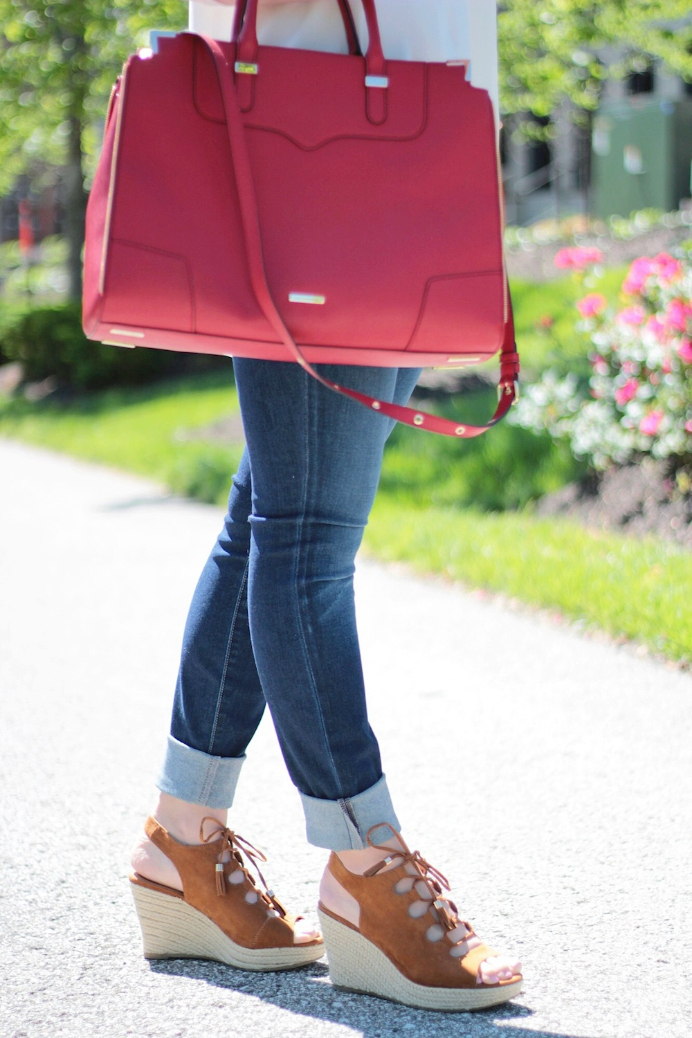 lace up wedges and rebecca minkoff bag