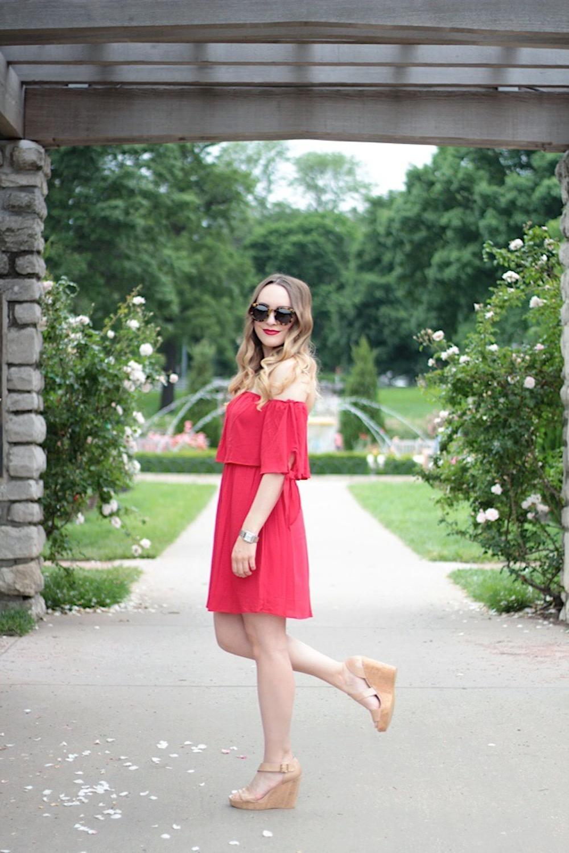 off-the-shoulder dress fashion blogger