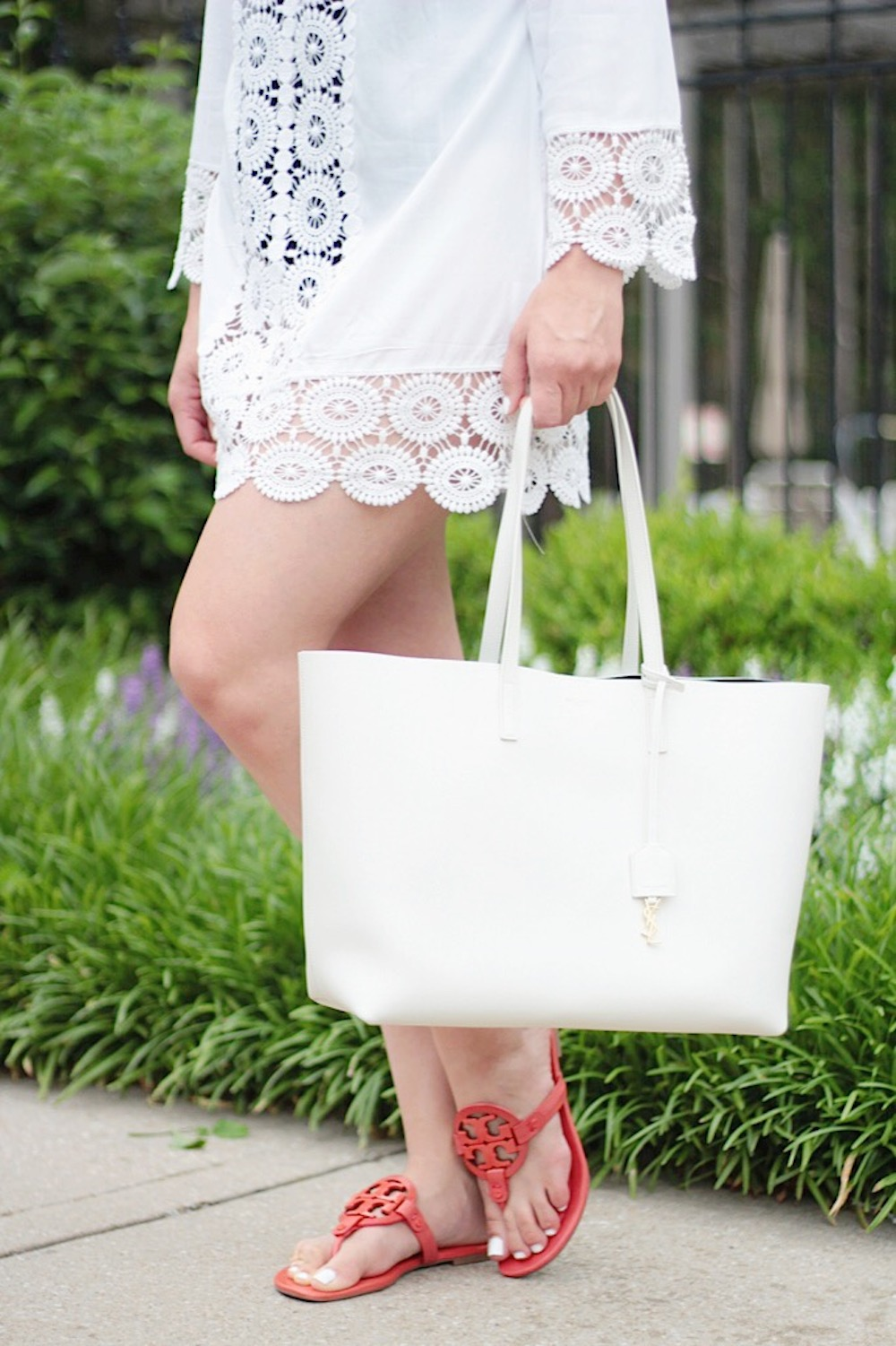 pool day red tory burch miller sandals