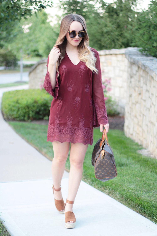 fall fashion burgundy wayf dress