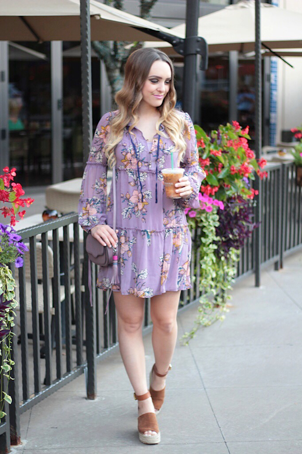 lilac floral dress between two coasts