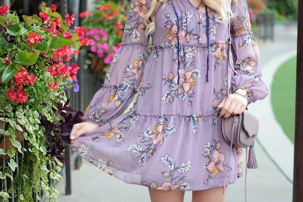 purple floral dress style blogger