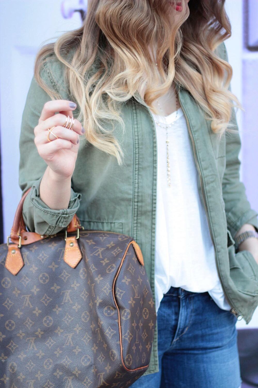army green utility jacket fashion blogger