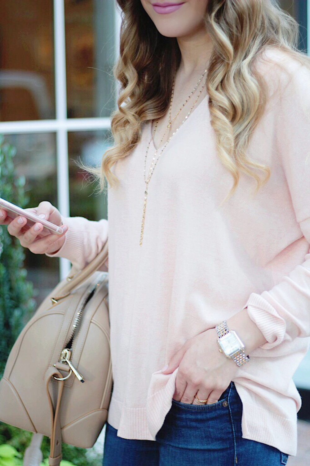 pink sweater fall style between two coasts