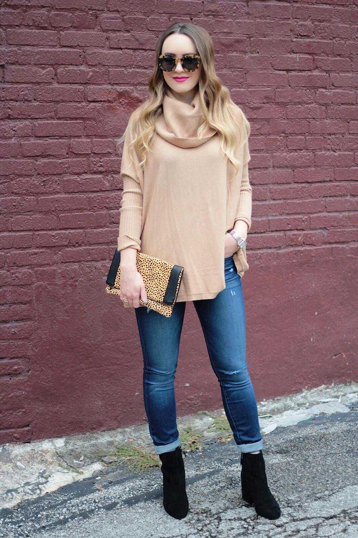 cowl neck sweater fashion blogger rachel pucetti