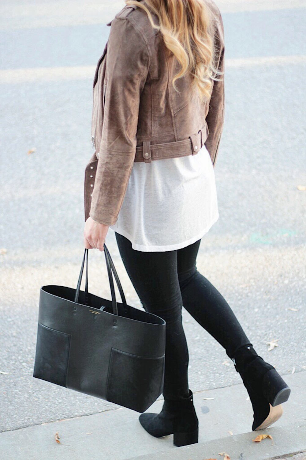 suede moto jacket street style rachel puccetti