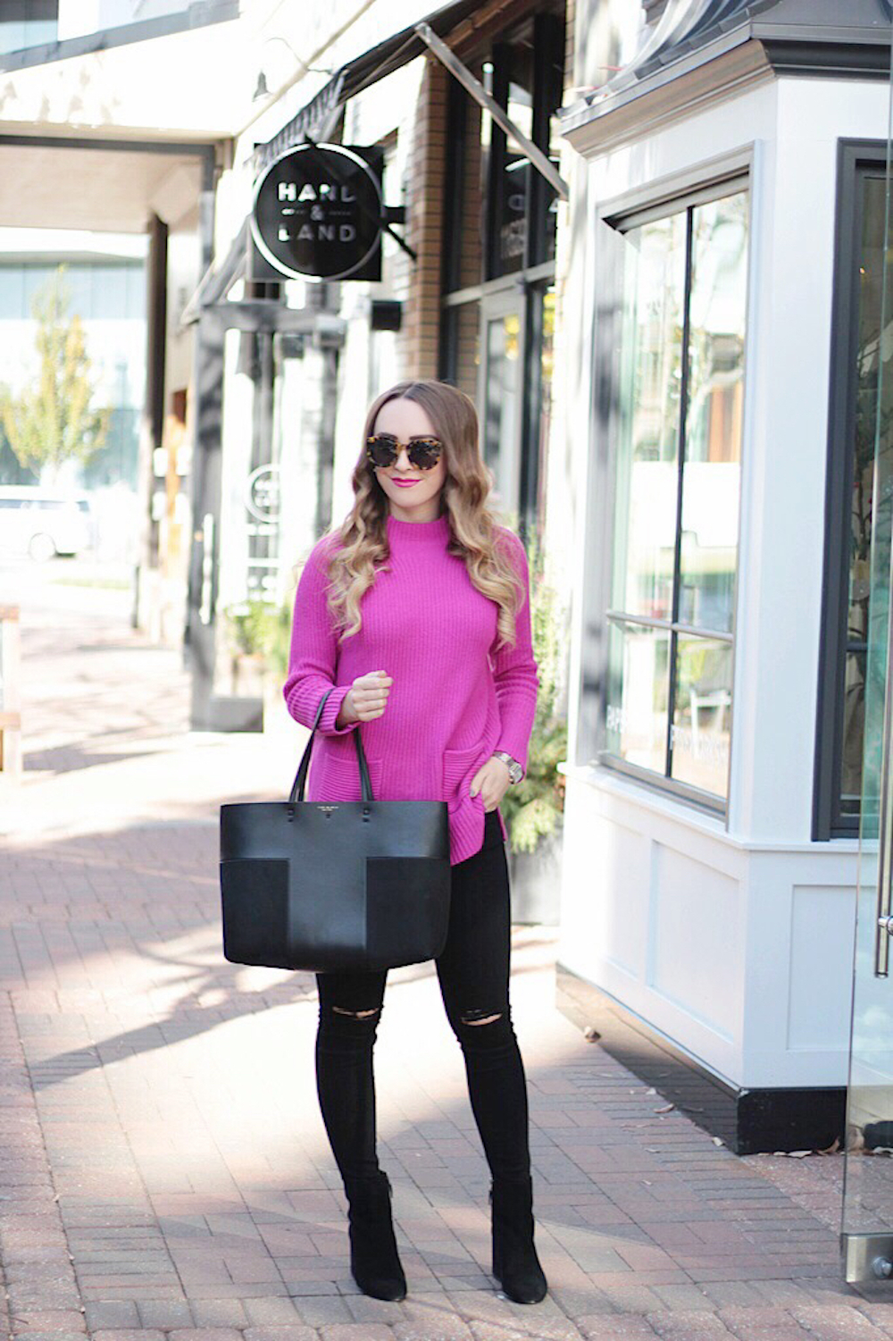 chaos pink sweater rachel puccetti between two coasts